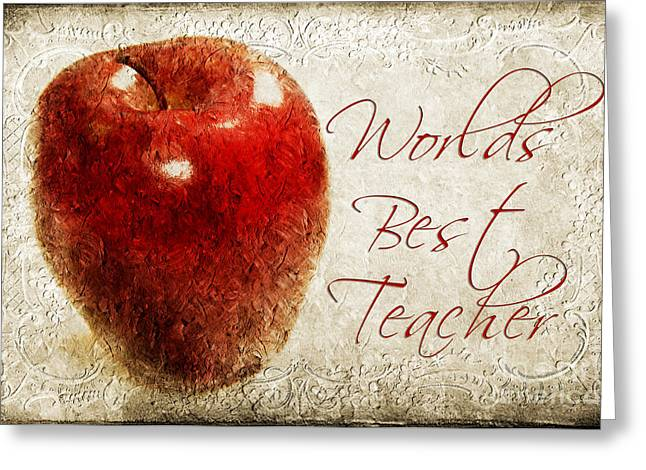 Apple Mixed Media Greeting Cards - Worlds Best Teacher Greeting Card by Andee Design
