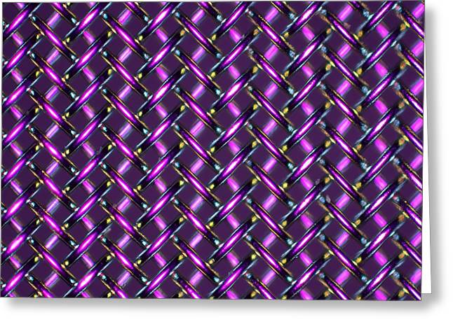 Stainless Steel Greeting Cards - Woven Stainless Steel, Light Micrograph Greeting Card by Pasieka