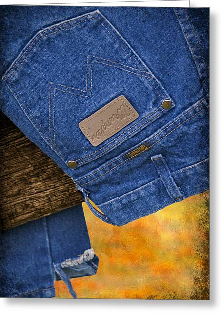 Casual Blue Jeans Greeting Cards - Wrangler Greeting Card by Susan Candelario