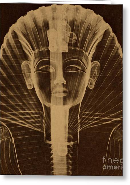 Pharaoh Greeting Cards - X-ray Of An Egyptian Mask Greeting Card by Photo Researchers