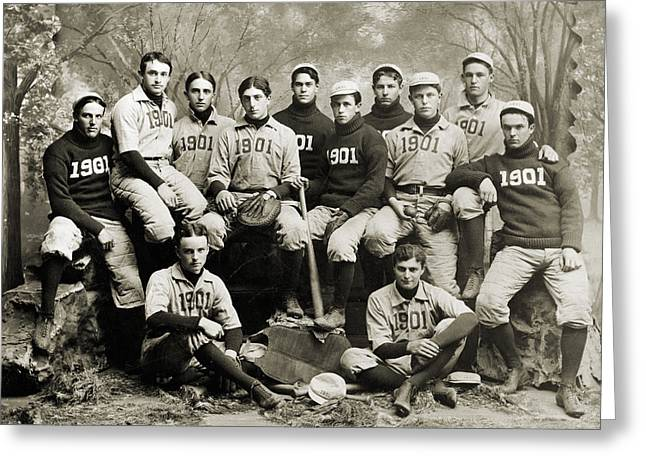 1901 Greeting Cards - Yale Baseball Team, 1901 Greeting Card by Granger
