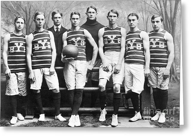 1901 Greeting Cards - Yale Basketball Team, 1901 Greeting Card by Granger