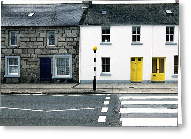 Yellow Doors Greeting Card by Jan Faul