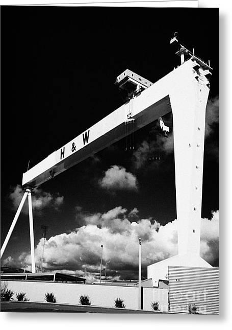 Wolff Greeting Cards - Yellow Harland And Wolff Gantry Crane Belfast Shipyard Titanic Quarter Belfast Northern Ireland Greeting Card by Joe Fox