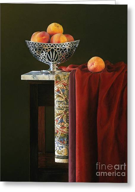 Yellow Silver And Red Greeting Card by Barbara Groff