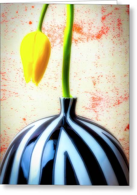 Dew Greeting Cards - Yellow Tulip In Striped Vase Greeting Card by Garry Gay