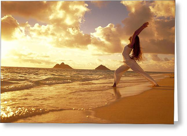 Photos Fitness Greeting Cards - Yoga At Sunrise Greeting Card by Dana Edmunds - Printscapes