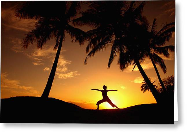 Photos Fitness Greeting Cards - Yoga At Sunset Greeting Card by Ron Dahlquist - Printscapes