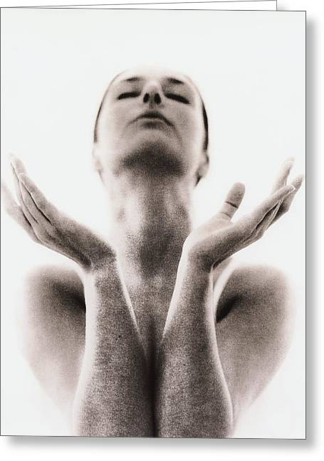 Womanly Greeting Cards - Yoga Meditation Greeting Card by Cristina Pedrazzini