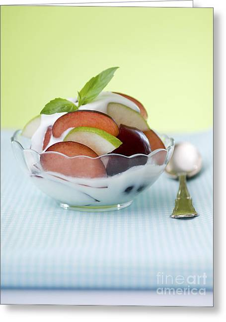 Health Food Photographs Greeting Cards - Yogurt and fruit  Greeting Card by Shahar Tamir