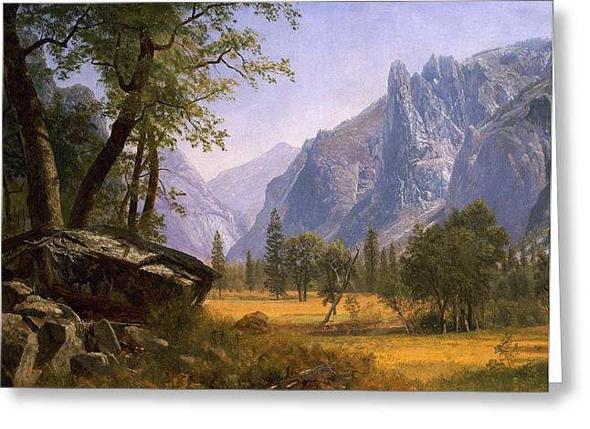 Ravine Greeting Cards - Yosemite Valley Greeting Card by Albert Bierstadt