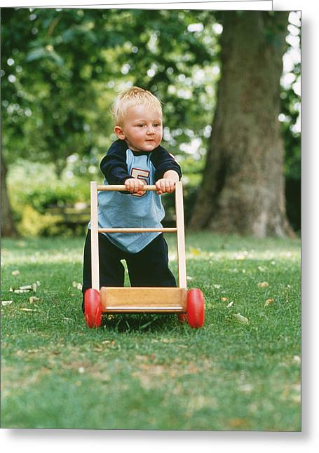 Child Care Greeting Cards - Young Boy Taking His First Steps Greeting Card by Ian Boddy