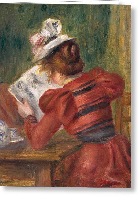 Puffed Sleeves Greeting Cards - Young Girl Reading Greeting Card by Pierre Auguste Renoir