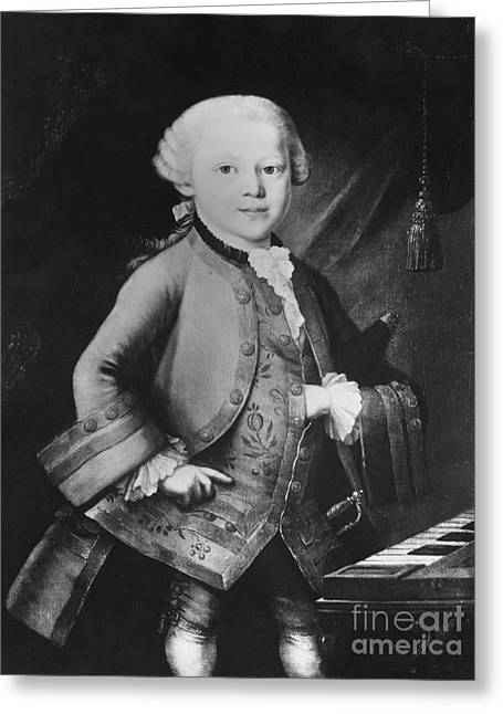 Concerto Greeting Cards - Young Wolfgang Amadeus Mozart, Austrian Greeting Card by Omikron