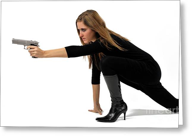 Women Only Greeting Cards - Young woman holding gun Greeting Card by Sami Sarkis