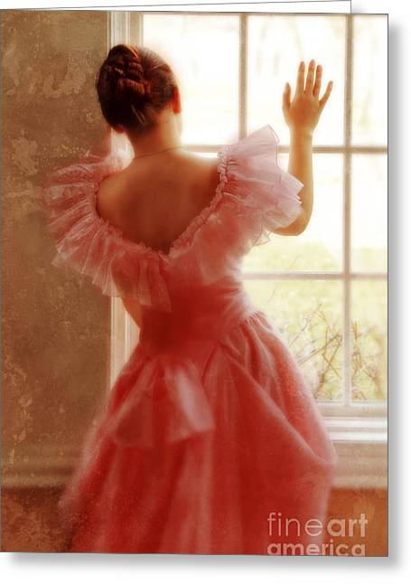 Dressy Greeting Cards - Young Woman in Pink Ruffled Dress Greeting Card by Jill Battaglia