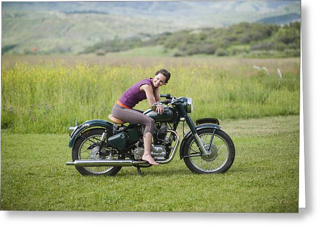 Model Colorado Greeting Cards - Young Woman Seated On An Antique Greeting Card by Pete Mcbride