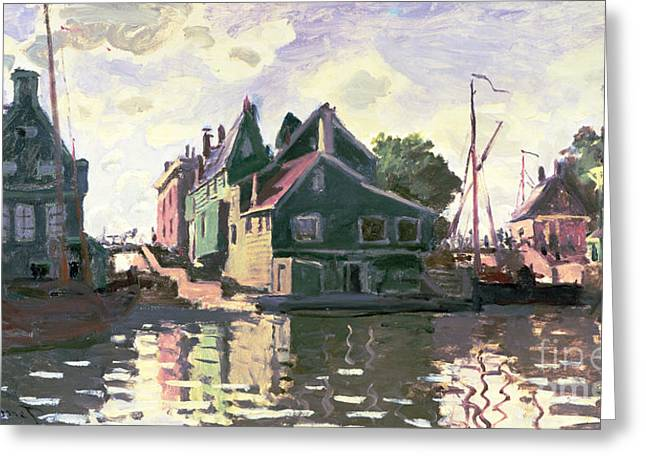 Docked Sailboat Greeting Cards - Zaandam Greeting Card by Claude Monet
