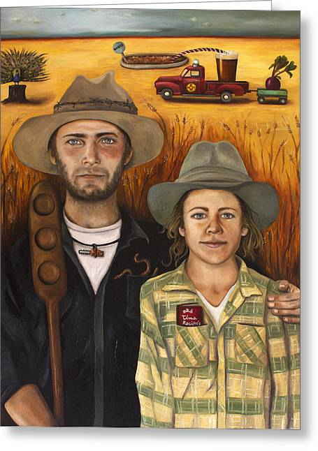 Grant Wood Greeting Cards - Zeb and Ellen Greeting Card by Leah Saulnier The Painting Maniac