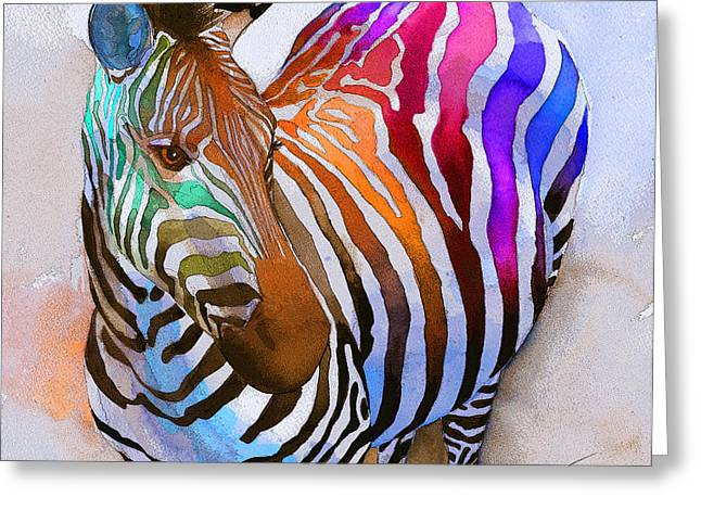 Colorful Greeting Cards - Zebra Dreams Greeting Card by Galen Hazelhofer