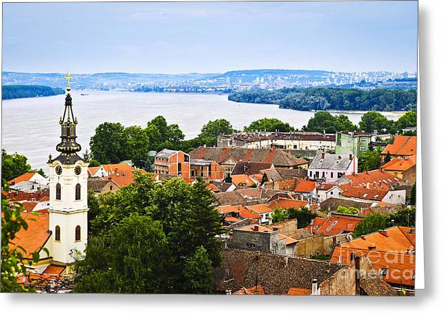 Red-roofed Buildings Greeting Cards - Zemun rooftops in Belgrade Greeting Card by Elena Elisseeva