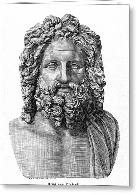 Statue Portrait Photographs Greeting Cards - Zeus Greeting Card by Granger