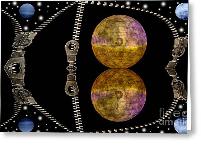 Negotiating Greeting Cards - Zippers and planets Greeting Card by Odon Czintos