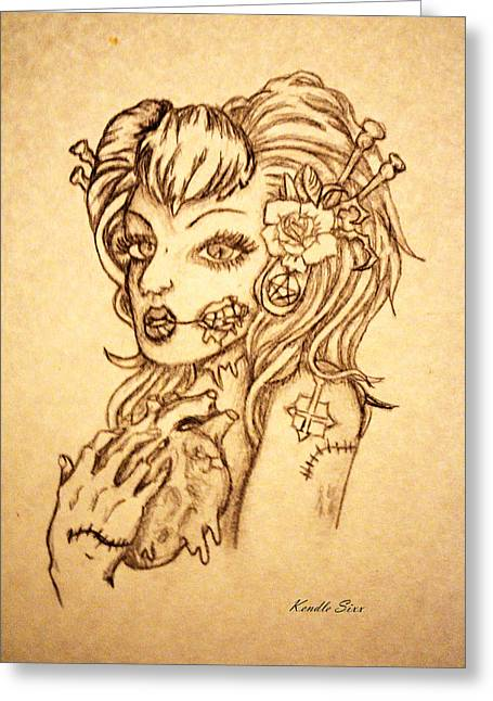 Gray Hair Drawings Greeting Cards - Zombie  Heart Greeting Card by Kendle Sixx