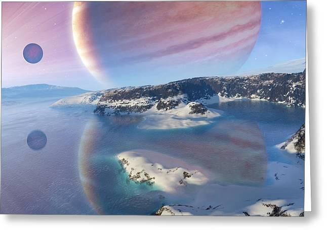 Crater Lake Artwork Greeting Cards - Alien Landscape, Artwork Greeting Card by Detlev Van Ravenswaay