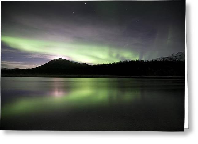 Reflecting Water Greeting Cards - Aurora Borealis Greeting Card by Chris Madeley