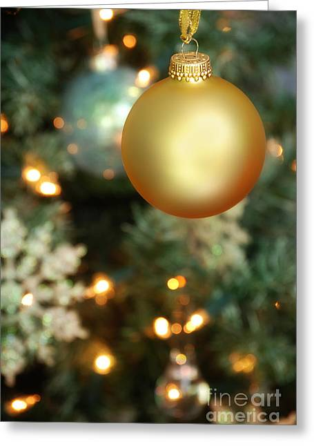 Golds Greeting Cards - Christmas Ornaments Greeting Card by HD Connelly