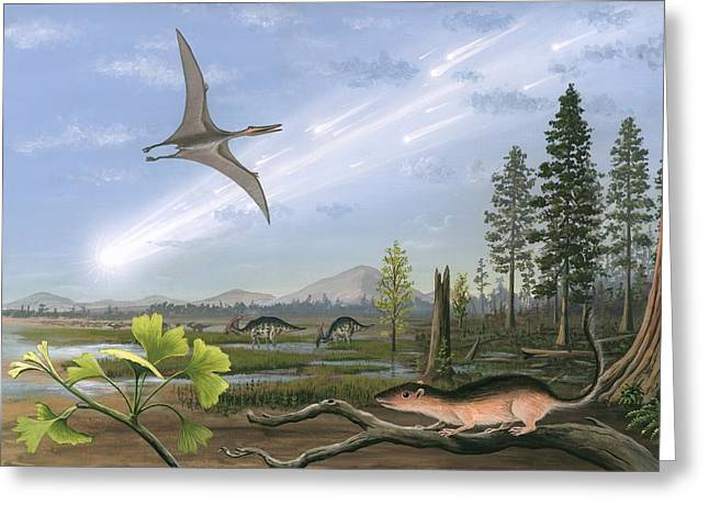 Wildlife Disasters Greeting Cards - Cretaceous-tertiary Extinction Event Greeting Card by Richard Bizley
