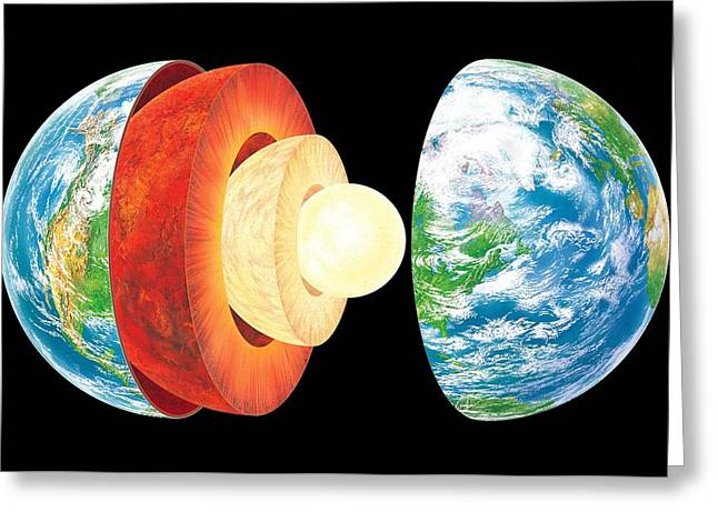Planet Earth Greeting Cards - Earth Layers, Artwork Greeting Card by Gary Hincks
