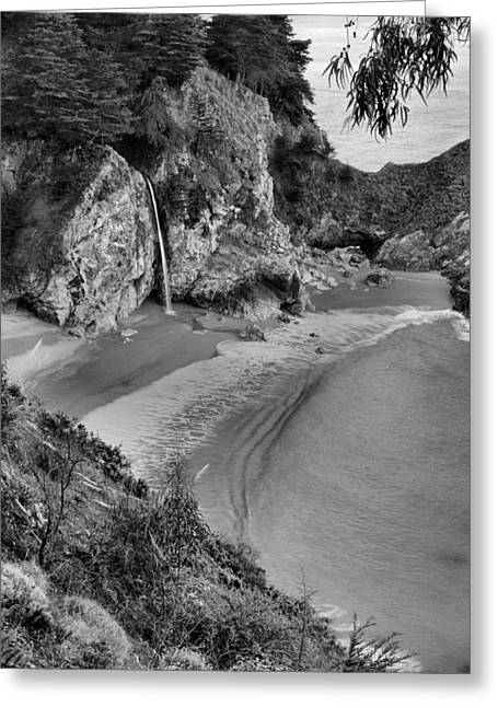 Mcway Falls Greeting Cards - McWay Falls - Big Sur Greeting Card by Stephen  Vecchiotti