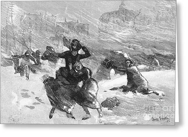 Union Square Greeting Cards - New York: Blizzard Of 1888 Greeting Card by Granger