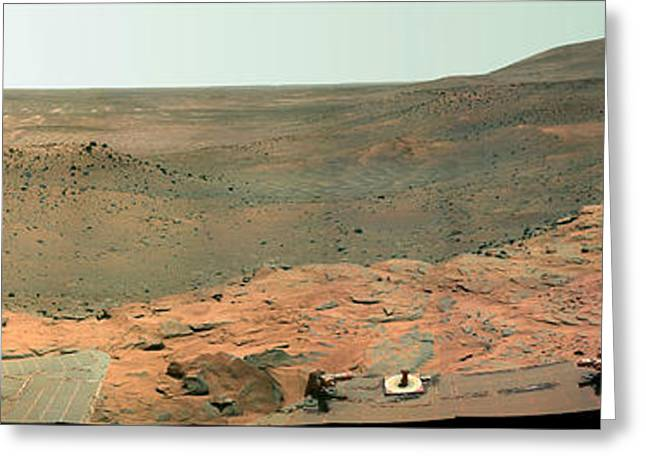 False-colored Greeting Cards - Panoramic View Of Mars Greeting Card by Stocktrek Images