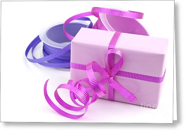 Streamer Greeting Cards - Pink gift Greeting Card by Blink Images