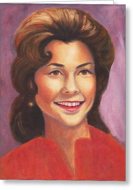 Suzanne Marie Leclair Paintings Greeting Cards - Self Portrait Greeting Card by Suzanne  Marie Leclair