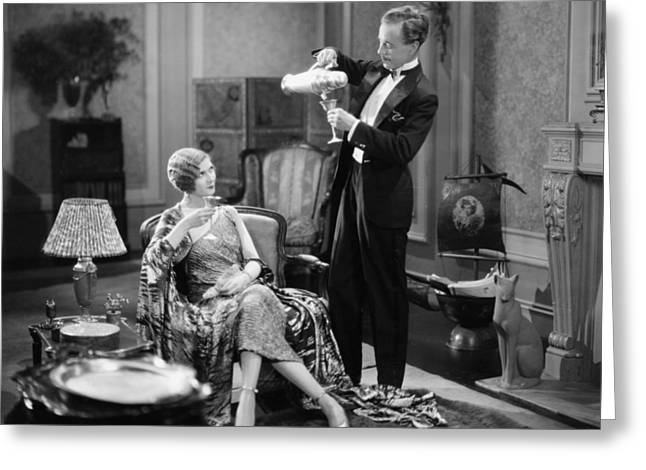 Interior Scene Greeting Cards - Silent Film Still: Drinking Greeting Card by Granger