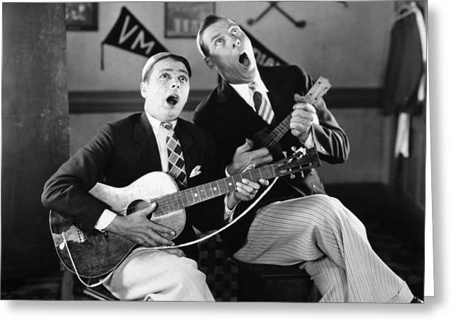 Ukelele Greeting Cards - Silent Film Still: Music Greeting Card by Granger