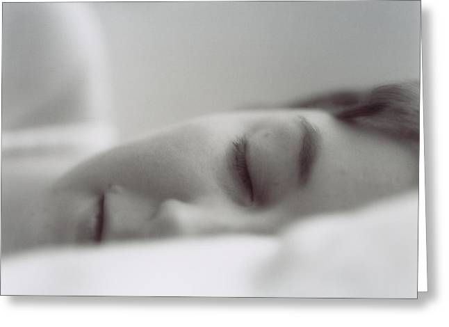 Sleeping Face Greeting Cards - Sleeping Woman Greeting Card by Cristina Pedrazzini
