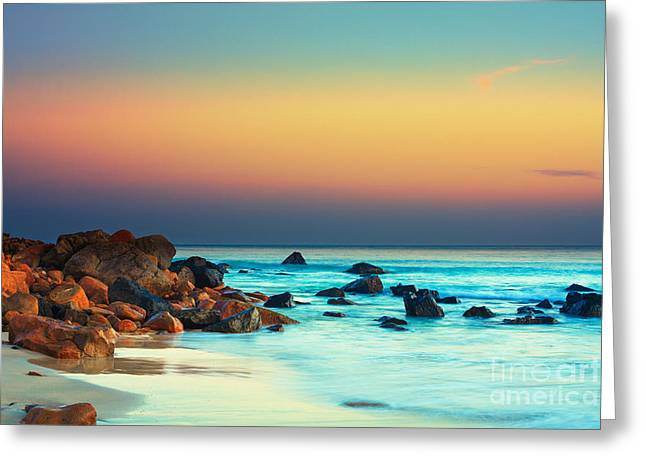 Ocean Shore Greeting Cards - Sunset Greeting Card by MotHaiBaPhoto Prints
