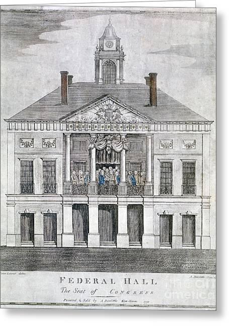 Federal Hall Greeting Cards - Washington: Inauguration Greeting Card by Granger
