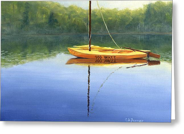 Canvas On Board Greeting Cards - 100 Watts sailboat Greeting Card by Elaine Farmer