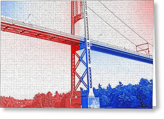 Cooperation Digital Art Greeting Cards - 1000 Island International Bridge 2 Greeting Card by Steve Ohlsen