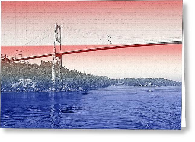 Cooperation Greeting Cards - 1000 Island International Bridge 3 Greeting Card by Steve Ohlsen