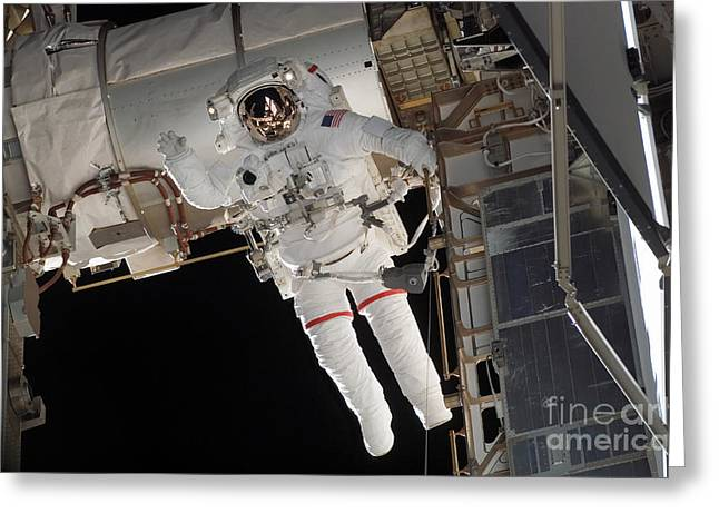 Construction Helmet Greeting Cards - Astronaut Participates Greeting Card by Stocktrek Images