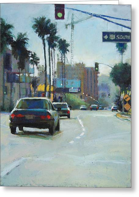 Los Angeles Pastels Greeting Cards - 101 South Greeting Card by Margaret Dyer