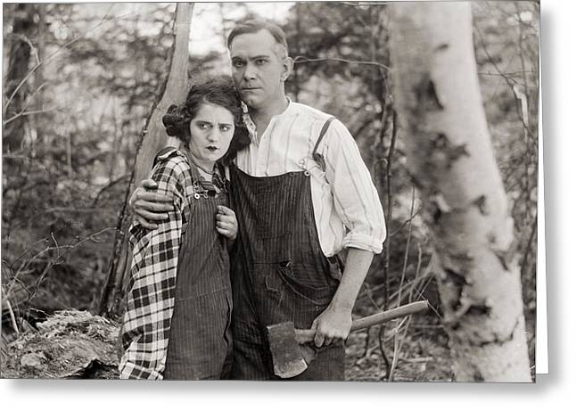 Overalls Greeting Cards - Silent Film Still: Couples Greeting Card by Granger