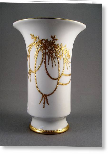 Hand Painted Porcelain Ceramics Greeting Cards - 1030 Vase Raised Gold Greeting Card by Wilma Manhardt